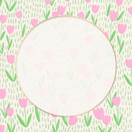 郁金香地背景上的圆形框架