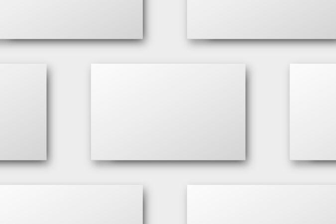 空白名片设计在白色调平面