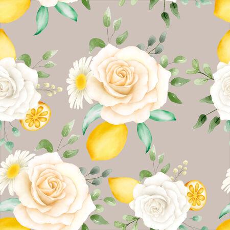 柠檬水彩花卉图案