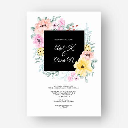 美丽的花框彩色粉彩粉黄色婚礼请柬