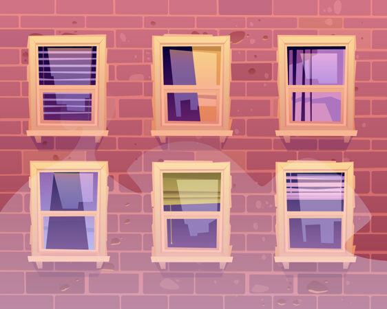 带窗户的房屋正面视图