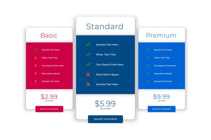 现代比较计划和定价模板