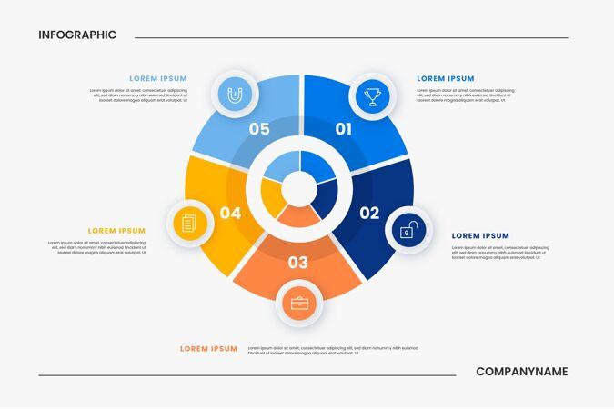 平面圆形图信息图