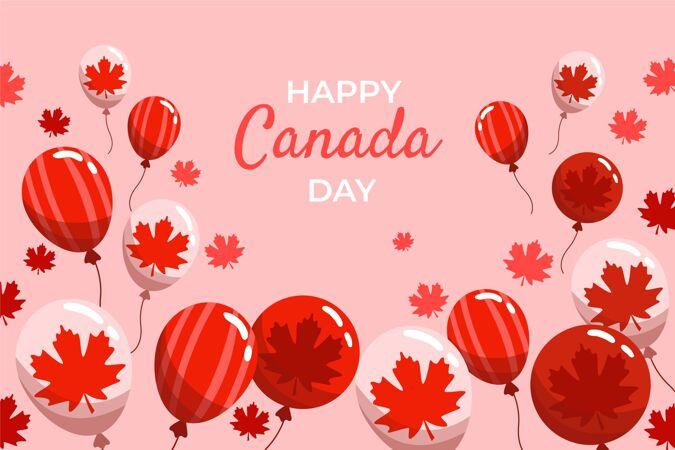 手绘加拿大日气球背景