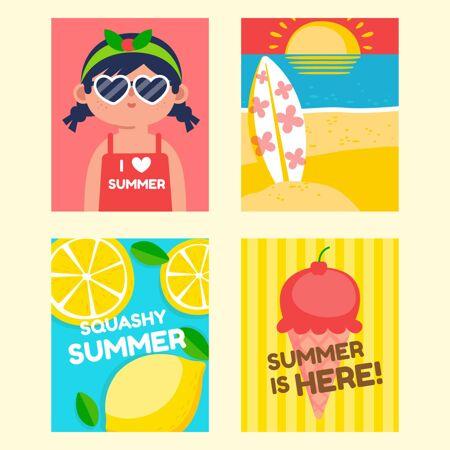 扁平夏季卡片收集