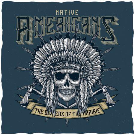 美国印第安头骨和战斧的标签