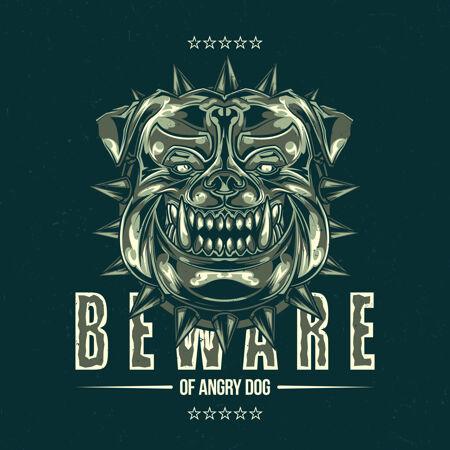 T恤标签设计与插图的斗牛犬头