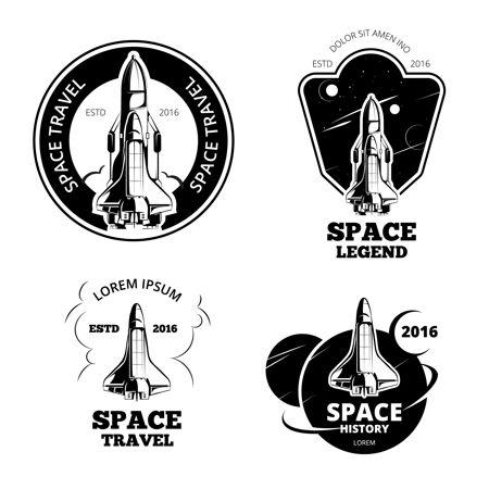 太空人徽章 徽章和标志矢量集太空船标签 太空船标志 太空船徽章 发射太空船