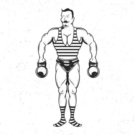 带有复古运动员插图的独立徽章
