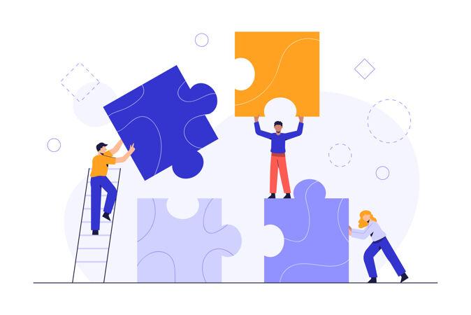 人们连接拼图元素商业概念团队隐喻商业团队与碎片