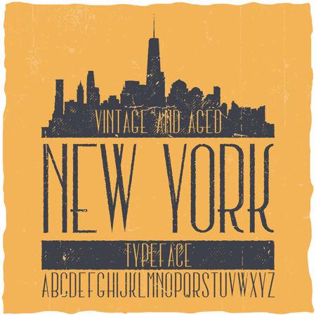 复古标签字体命名为纽约