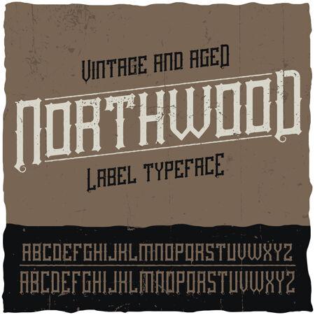 名为northwood的复古标签字体