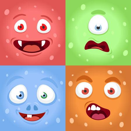 卡通怪物脸怪物表情脸人物插图集
