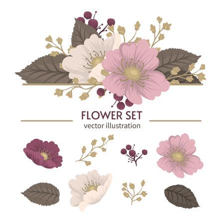可爱的花朵隔离花束剪贴花套装