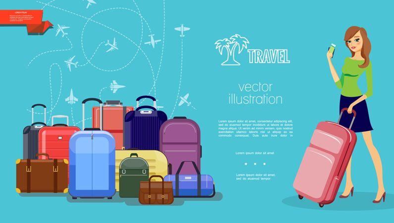 平板旅行彩色模板与行李行李漂亮的女人拿着包和支付卡在蓝色的飞机飞行