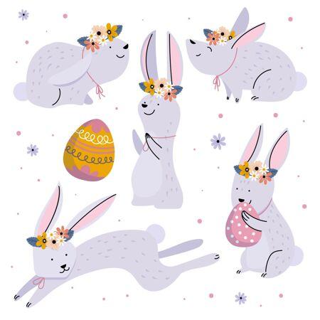 手绘复活节兔子系列