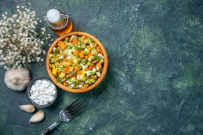 俯瞰美味蔬菜沙拉 彩餐沙拉美食午餐